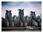 High rise development on the river Thames in London England