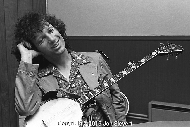 John Hartford, Oct 27, 1979, Great American Music Hall, SF. American folk, country and bluegrass composer and musician known for his mastery of the fiddle and banjo, as well as for his witty lyrics, unique vocal style, and extensive knowledge of Mississippi River lore. Hartford performed with a variety of ensembles throughout his career, and is perhaps best known for his solo performances where he would interchange the guitar, banjo, and fiddle from song to song. He also invented his own shuffle tap dance move, and clogged on an amplified piece of plywood while he played and sang.