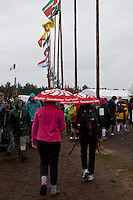 The jamboree-shop sold a lot of umbrellas during the first days of the jamboree. Photo: Kim Rask/Scouterna