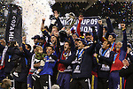 22 November 2009: Salt Lake captain Kyle Beckerman holds the Philip F. Anschutz MLS Cup Trophy overhead while celebrating with his teammates. Real Salt Lake defeated the Los Angeles Galaxy 5-4 on penalty kicks after the teams played to a 1-1 overtime tie at Qwest Field in Seattle, Washington in MLS Cup 2009, Major League Soccer's championship game.