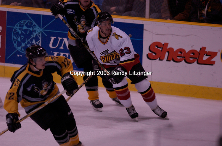Johnstown Chiefs defeated the Texas Wildcatters 5-2 October 22, 2003 at the Cambria County War Memorial in Johnstown, PA..Brent Bilodeau(5) vs. Pereira(17)  (1st Period Fight).Richard Paul(55) vs.      (2nd Period Fight).Steve Hildenbrand(15) - 2 goals.Josh Piro(23) -1st career goal  :23 into game.Dmitri Tarabrin(17) - 1 goal.Jason Notermann(22) - 1 goal, 1 assist.Dominic Forget - 3 asssits