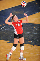 20 November 2008:  Western Kentucky setter Julia Noe (25) serves during the WKU 3-0 victory over Denver in the first round of the Sun Belt Conference Championship tournament at FIU Stadium in Miami, Florida.