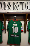 Glentoran 2 Cliftonville 1, 22/10/2016. The Oval, NIFL Premiership. Nacho Novo's shirt hanging in the home dressing room at The Oval, Belfast, pictured before Glentoran hosted city-rivals Cliftonville in an NIFL Premiership match. Glentoran, formed in 1892, have been based at The Oval since their formation and are historically one of Northern Ireland's 'big two' football clubs. They had an unprecendentally bad start to the 2016-17 league campaign, but came from behind to win this fixture 2-1, watched by a crowd of 1872. Photo by Colin McPherson.