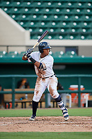 Detroit Tigers Wenceel Perez (80) at bat during a Florida Instructional League game against the Pittsburgh Pirates on October 6, 2018 at Joker Marchant Stadium in Lakeland, Florida.  (Mike Janes/Four Seam Images)