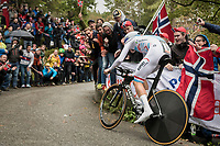 Bob Jungels (LUX/Quick-Step Floors) up Mount Fløyen<br /> <br /> Men Elite Individual Time Trial<br /> <br /> UCI 2017 Road World Championships - Bergen/Norway