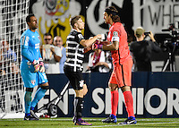 Orlando, FL - Saturday Jan. 21, 2017: Corinthians midfielder Marlone (8) celebrates his successful penalty shot with Corinthians goalkeeper Cassio Ramos (12) during the penalty kick shootout of the Florida Cup Championship match between São Paulo and Corinthians at Bright House Networks Stadium. The game ended 0-0 in regulation with São Paulo defeating Corinthians 4-3 on penalty kicks