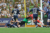 MELBOURNE, AUSTRALIA - JANUARY 09: Fabian Barbiero of United kicks for goal during the round 22 A-League match between the Melbourne Victory and Adelaide United at AAMI Park on January 9, 2011 in Melbourne, Australia. (Photo by Sydney Low / Asterisk Images)