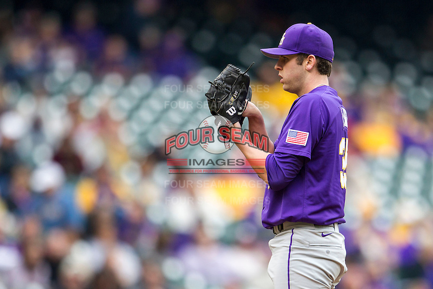 LSU Tigers pitcher Alex Lange (35) looks to his catcher for the sign during the NCAA baseball game against the Baylor Bears on March 7, 2015 in the Houston College Classic at Minute Maid Park in Houston, Texas. LSU defeated Baylor 2-0. (Andrew Woolley/Four Seam Images)