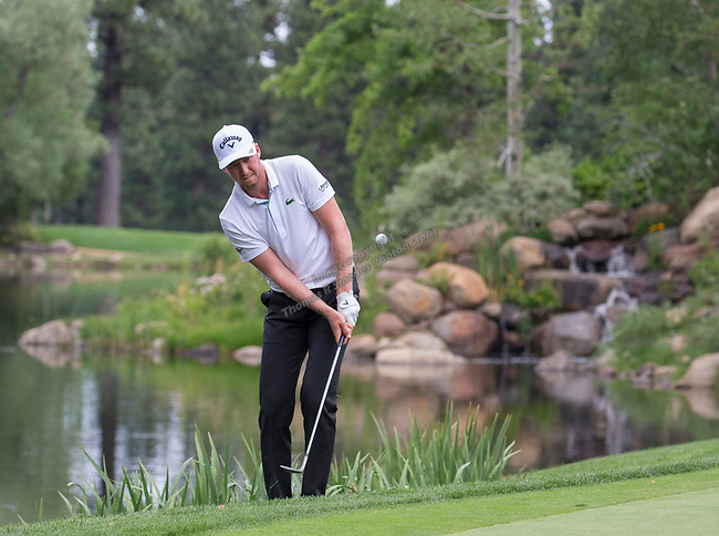 Daniel Berger hit a chip shot on the 7th hole during the Barracuda Championship PGA golf tournament at Montrêux Golf and Country Club in Reno, Nevada on Friday, July 26, 2019.