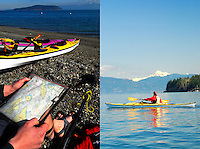 San Juan Islands sea kayaking with Mount Baker in background. WA.