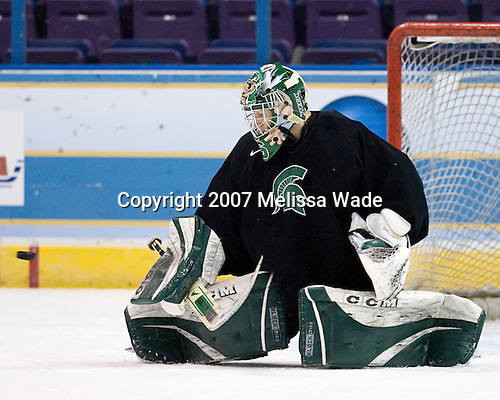 Jeff Lerg (Michigan State - Livonia, MI) takes part in the Michigan State University Spartans' morning skate in preparation for the 2007 Frozen Four Final that evening, Saturday, April 7, 2007, at the Scottrade Center in St. Louis, Missouri.