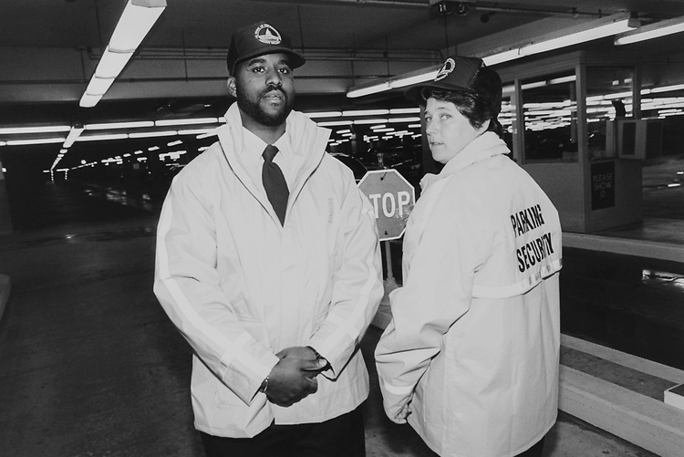 Parking lot attendants Marcelle Joyner and B.J. Sullivan. (Photo by Maureen Keating/CQ Roll Call via Getty Images)