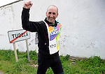 "A man reacts after run in Tutera on March 26, 2015, Basque Country. The ""19th Korrika"" is a relay of hand to hand baton passing without interruption over 11 days and 10 nights crossing many Basque villages and cities, totalling some 2300 kilometres in a bid to promote the basque language.The ""Korrika"" this year end in Bilbao on March 29. (Ander Gillenea / Bostok Photo)"