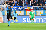 05.08.2019, Carl-Benz-Stadion, Mannheim, GER, 3. Liga, SV Waldhof Mannheim vs. TSV 1860 Muenchen, <br /> <br /> DFL REGULATIONS PROHIBIT ANY USE OF PHOTOGRAPHS AS IMAGE SEQUENCES AND/OR QUASI-VIDEO.<br /> <br /> im Bild: Kevin Conrad (SV Waldhof Mannheim #4) jubelt ueber das Tor zum 2:0 durch Gianluca Korte (SV Waldhof Mannheim #17)<br /> <br /> Foto © nordphoto / Fabisch