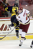 Francois Ouimet (Merrimack - 21), Brian Dumoulin (BC - 2) - The Boston College Eagles defeated the Merrimack College Warriors 7-0 on Tuesday, February 23, 2010 at Conte Forum in Chestnut Hill, Massachusetts.