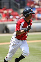Sean Henry #12 of the Carolina Mudcats running to 1st base during a game against the West Tenn Diamond Jaxx on May 30, 2010 in Zebulon, NC.