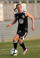 BOYDS, MARYLAND-JULY 07,2012:  USA Olympian Becky Sauerbrunn (11) of DC United Women against the Dayton Dutch Lions during a W League game at Maryland Soccerplex, in Boyds, Maryland. DC United women won 4-1.