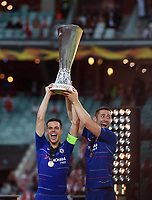 (190530) -- BAKU, May 30, 2019 -- Cesar Azpilicueta (L) of Chelsea celebrates with the trophy after the UEFA Europa League final match between Chelsea and Arsenal in Baku, Azerbaijan, May 29, 2019. Chelsea won 4-1. ) (SP)AZERBAIJAN-BAKU-FOOTBALL-UEFA-EUROPA LEAGUE-FINAL <br /> Photo Imago/Xinhua/Insidefoto
