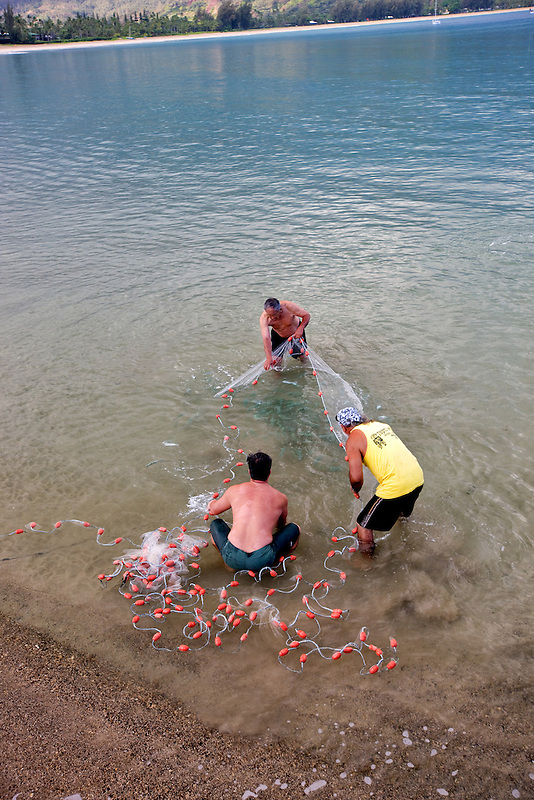 Native hawaians net fishing for mackerel. Hanalei Bay. Kauai, Hawaii.