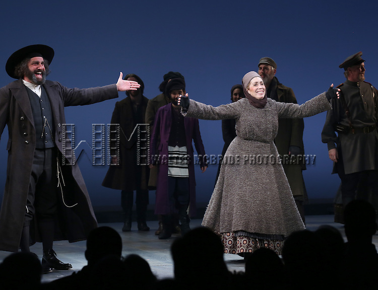 Adam Dannheisser and Alix Korey during the Broadway Opening Night Performance Curtain Call bows for 'Fiddler On The Roof'  at the Broadway Theatre on December 20, 2015 in New York City.