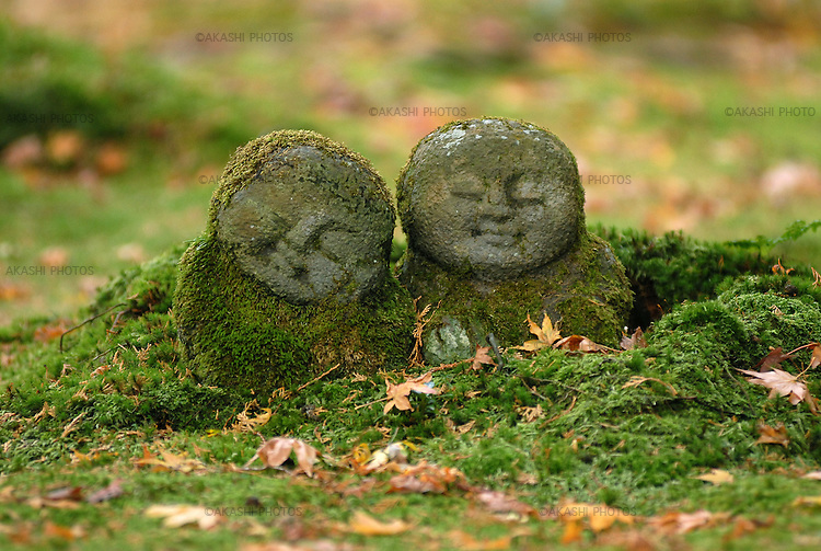 Jizo, Ksitigarbha, protector or god for travelers and children, in the garden of Sanzenin, at Ohara, Kyoto.