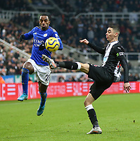 1st January 2020; St James Park, Newcastle, Tyne and Wear, England; English Premier League Football, Newcastle United versus Leicester City; Miguel Almiron of Newcastle United tries to lob the ball over Ricardo Pereira of Leicester City - Strictly Editorial Use Only. No use with unauthorized audio, video, data, fixture lists, club/league logos or 'live' services. Online in-match use limited to 120 images, no video emulation. No use in betting, games or single club/league/player publications