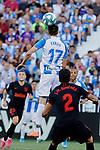CD Leganes's Javier Eraso and Atletico de Madrid's Jose Maria Gimenez during La Liga match between CD Leganes and Atletico de Madrid at Butarque Stadium in Madrid, Spain. August 25, 2019. (ALTERPHOTOS/A. Perez Meca)