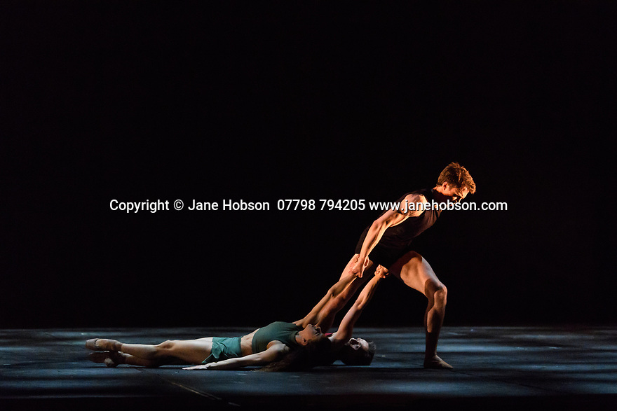 "London, UK. 07.04.19. Ivan Putrov presents ""Against the Stream"", a mixed bill of ballet, at the London Coliseum.  The piece shown is: ""Images of Love"". choreographed by Sir Kenneth MacMillan. The dancers are: Mathew Ball, Mayara Magri and Ivan Putrov. <br /> Photograph © Jane Hobson."