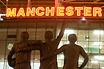 A statue in honour of Dennis Law, Bobby Charlton and George Best outside the main stand at Old Trafford before the Carling Cup semi-final second leg clash between Manchester United and Derby County. The visitors led one-nil from the first leg, however, United overturned this with a 4-2 victory to reach the final at Wembley.
