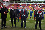 Ex-Referee Keith Hacket and Glyn Youdan draw the teams for the Youdan Trophy  at Bramall Lane in Sheffield. Photo by Glenn Ashley.