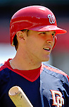 11 June 2006: Brendan Harris, infielder for the Washington Nationals, looks back to the dugout prior to a game against the Philadelphia Phillies at RFK Stadium, in Washington, DC. The Nationals shut out the visiting Phillies 6-0 to take the series three games to one...Mandatory Photo Credit: Ed Wolfstein Photo..