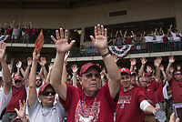 NWA Democrat-Gazette/CHARLIE KAIJO Arkansas Razorbacks fans call the hogs during game two of the College Baseball Super Regional, Sunday, June 9, 2019 at Baum-Walker Stadium in Fayetteville. Ole Miss forces a game three with a 13-5 win over the Razorbacks