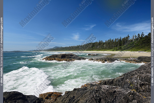 Green Point beach with big tidal waves at Pacific Rim National Park Reserve, Long Beach, Tofino, Vancouver Island, BC, Canada Image © MaximImages, License at https://www.maximimages.com