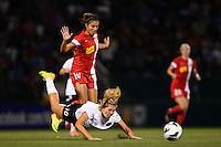 Western New York Flash midfielder Carli Lloyd (10) fouls Portland Thorns midfielder Allie Long (10). The Portland Thorns defeated the Western New York Flash 2-0 during the National Women's Soccer League (NWSL) finals at Sahlen's Stadium in Rochester, NY, on August 31, 2013.