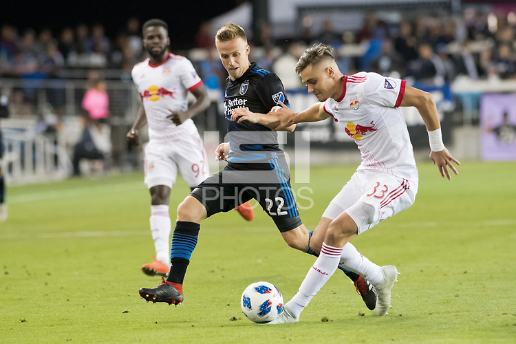San Jose, CA - Thursday January 21, 2016: Tommy Thompson, Aaron Long during a Major League Soccer (MLS) match between the San Jose Earthquakes and the New York Red Bulls at Avaya Stadium.