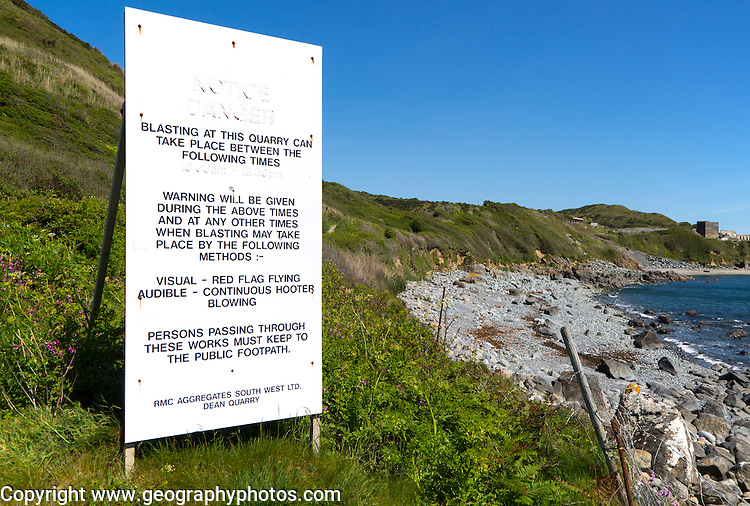 Dean Quarry notice, near St Keverne; Lizard Peninsula, Cornwall, England, UK