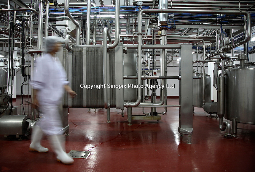 Workers at their post at the new a factory making powdered milk in  Inner Mongolia, China..05 Jul 2007