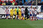 Getafe´s Yoda gets injured during 2014-15 La Liga match at Vicente Calderon stadium in Madrid, Spain. March 21, 2015. (ALTERPHOTOS/Victor Blanco)