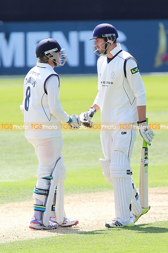 James Vince of Hampshire (R) congratulates Liam Dawson on scoring 50 runs for his team - Essex CCC vs Hampshire CCC - LV County Championship Division Two Cricket at the Essex County Ground, Chelmsford - 01/05/13 - MANDATORY CREDIT: Gavin Ellis/TGSPHOTO - Self billing applies where appropriate - 0845 094 6026 - contact@tgsphoto.co.uk - NO UNPAID USE.