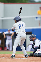 Moises Gomez (21) of the Princeton Rays at bat against the Danville Braves at American Legion Post 325 Field on June 25, 2017 in Danville, Virginia.  The Braves walked-off the Rays 7-6 in 11 innings.  (Brian Westerholt/Four Seam Images)
