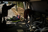 Morehead City, NC -- Quadriplegic hand cyclist Paul Kelly, 62, adjusts his sunglasses before a training ride for the Boston Marathon Tuesday, March 27, 2018. (Justin Cook for The Wall Street Journal)<br /> <br /> SUMMARY:<br /> <br /> Paul Kelly, hand cyclist, Beaufort, NC Training for the Boston Marathon so we would want to shoot in March to run the week before the marathon or marathon Monday, Apriln16. Life as a quadriplegic doesn&rsquo;t keep 62-year-old Paul Kelly on the sidelines. After breaking his neck in a swimming accident in 1978, Kelly was determined to find fitness activities to maintain an active lifestyle. He discovered handcycles while watching his niece compete in the 2006 Marine Corps Marathon and was inspired to start his own marathon career to stay fit. Paul has competed in over 100 half and full marathons. On April 16, he will celebrate his 40th year of living as a quadriplegic by taking on one of the most coveted races for a marathoner -- the Boston Marathon. Kelly is among the 60 handcyclists competing in the 2018 Boston Marathon with a qualifying time of 1:26:37. Most of Paul&rsquo;s distance training takes place at Bogue Banks, which includes Atlantic Beach, Salter Path, and Emerald Isle, N.C. It&rsquo;s Nicholas Sparks worthy scenery with its marshes, waterways, inlets and small islands. Paul is particularly fond of the approach from Atlantic Beach to Bogue Banks -- it&rsquo;s via the high-rise bridge. In cold weather, Paul has to be mindful of the environment and dress in a manner that insulates his legs while also allowing his upper body to ventilate. Paul chooses to train at times of day when the temperatures are more reasonable. He uses hand warmers in his gloves, on the inside the grips on his handcycle and in the legs of his trousers.