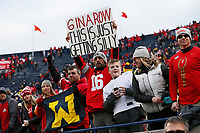 Ohio State Buckeyes fans hold signs following the NCAA football game against the Michigan Wolverines at Michigan Stadium in Ann Arbor on Nov. 25, 2017. Ohio State won 31-0. [Adam Cairns/Dispatch]