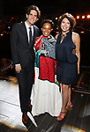 "Alex Timbers, Bahiyah Hibah and Jill Abramovitz during the Broadway Opening Night Legacy Robe Ceremony honoring Bahiyah Hibah for  ""Moulin Rouge! The Musical"" at the Al Hirschfeld Theatre on July 25,2019 in New York City."