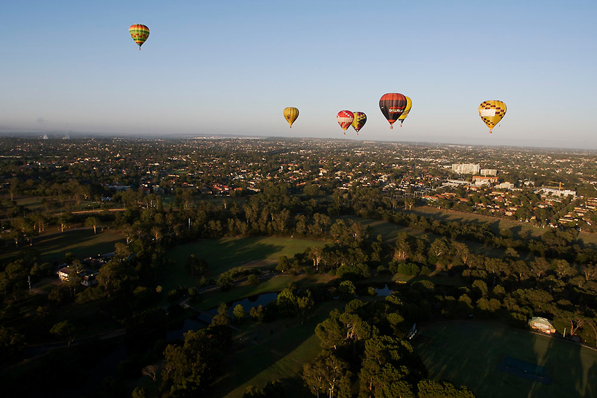 Hot air balloons fly over Western Sydney during the 'Sky Orchestra' event held as part of the Sydney Festival, January 6 2007. Photo: Ed Giles.