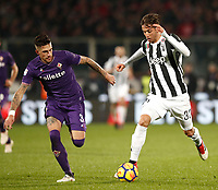 Calcio, Serie A: Fiorentina - Juventus, stadio Artemio Franchi Firenze 9 febbraio 2018.<br /> Juventus' Rodrigo Bentancur (r) in action with Fiorentina's Cristiano Biraghi (l) during the Italian Serie A football match between Fiorentina and Juventus at Florence's Artemio Franchi stadium, February 9, 2018.<br /> UPDATE IMAGES PRESS/Isabella Bonotto