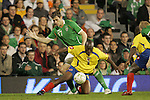 29 May 2008: Walter Moreno (COL) (3) shields Daryl Murphy (IRL) (17) away from the ball. The Republic of Ireland Men's National Team defeated the Colombia Men's National Team 1-0 at Craven Cottage in London, England in an international friendly soccer match.