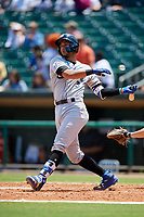 Biloxi Shuckers designated hitter Jake Gatewood (3) follows through on a swing during a game against the Montgomery Biscuits on May 8, 2018 at Montgomery Riverwalk Stadium in Montgomery, Alabama.  Montgomery defeated Biloxi 10-5.  (Mike Janes/Four Seam Images)