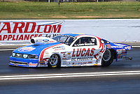 Jun. 1, 2013; Englishtown, NJ, USA: NHRA pro stock driver Larry Morgan during qualifying for the Summer Nationals at Raceway Park. Mandatory Credit: Mark J. Rebilas-