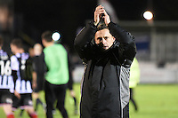 Manager Paul Hurst of Grimsby Town applauds the fans at the final whistle during the Vanarama National League match between Eastleigh and Grimsby Town at The Silverlake Stadium, Eastleigh, Hampshire on Nov 21, 2015. (Photo: Paul Paxford/PRiME)