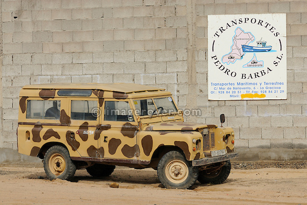 Spain, Canary Islands, Archipielago Chinijo, Isla Graciosa, Caleta del Sebo. Land Rover Santana Station Wagon. --- No releases available. Automotive trademarks are the property of the trademark holder, authorization may be needed for some uses.